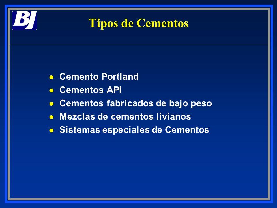 Tipos de Cementos l Cemento Portland l Cementos API l Cementos fabricados de bajo peso l Mezclas de cementos livianos l Sistemas especiales de Cemento