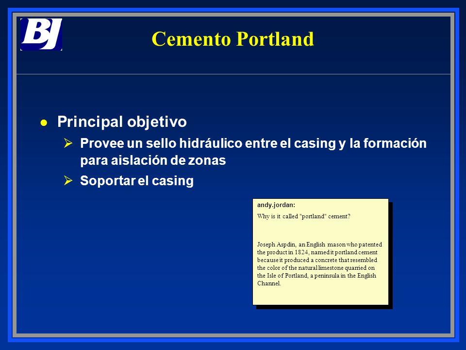ASTM - Tipo III l Información general ØCemento ASTM para la construcción ØSimilar al API Clase C l Rangos de densidades Ø14.4 a 14.8 ppg l Aplicaciones ØPara casing de superficie o pozos poco profundos ØPara ser aplicado hasta 6,000 ft, con precaución ØReemplazo económico del API Clase C ØAlto contenido de C3A (OSR) ØNo está chequeado en calidad por el API