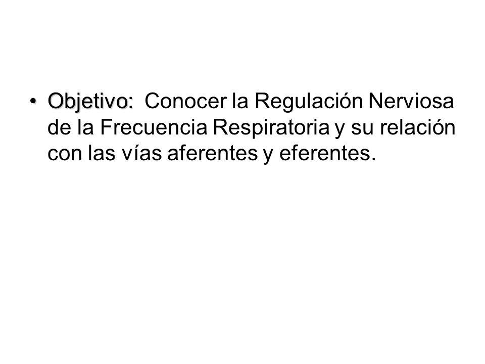 Objetivo:Objetivo: Conocer la Regulación Nerviosa de la Frecuencia Respiratoria y su relación con las vías aferentes y eferentes.