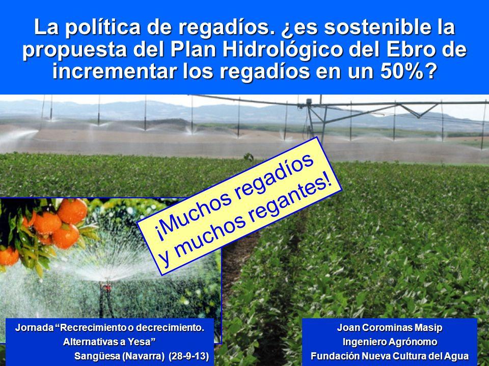 La política de regadíos. ¿es sostenible la propuesta del Plan Hidrológico del Ebro de incrementar los regadíos en un 50%? Jornada Recrecimiento o decr