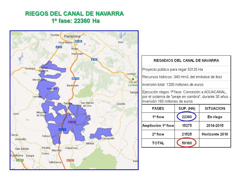 RIEGOS DEL CANAL DE NAVARRA 1ª fase: 22360 Ha