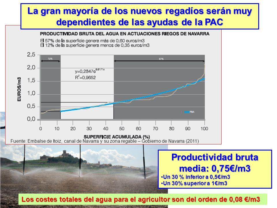 Productividad bruta media: 0,75/m3 Un 30 % inferior a 0,5/m3Un 30 % inferior a 0,5/m3 Un 30% superior a 1/m3Un 30% superior a 1/m3 Fuente: Embalse de