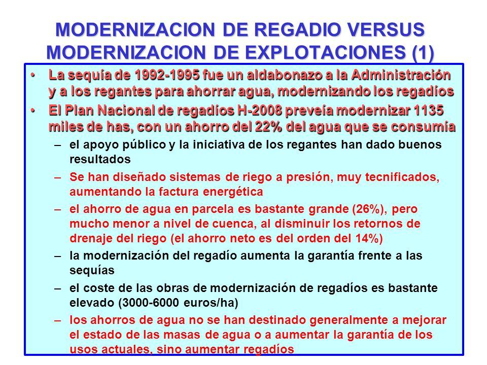 MODERNIZACION DE REGADIO VERSUS MODERNIZACION DE EXPLOTACIONES (1) La sequía de 1992-1995 fue un aldabonazo a la Administración y a los regantes para