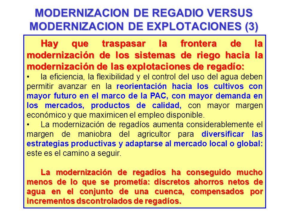 MODERNIZACION DE REGADIO VERSUS MODERNIZACION DE EXPLOTACIONES (3) Hay que traspasar la frontera de la modernización de los sistemas de riego hacia la