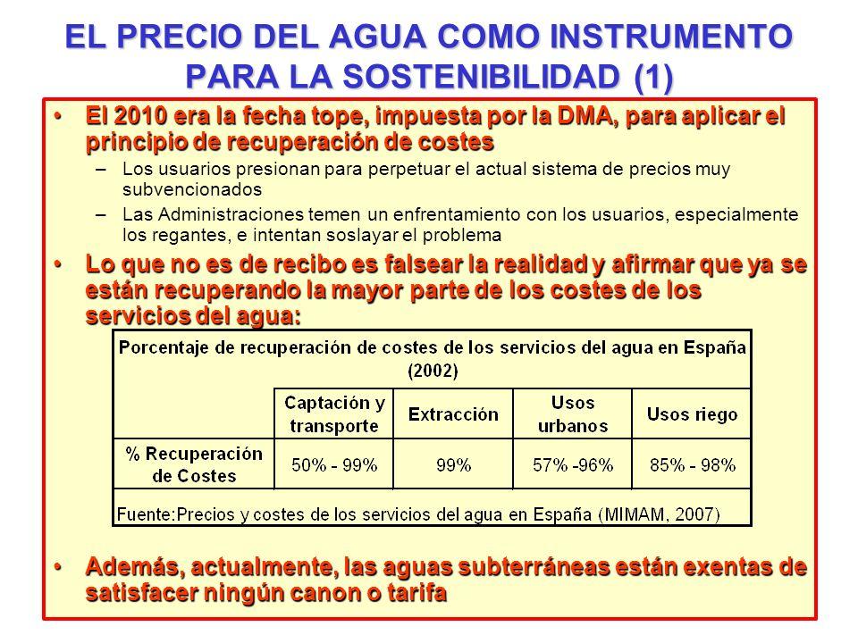 EL PRECIO DEL AGUA COMO INSTRUMENTO PARA LA SOSTENIBILIDAD (1) El 2010 era la fecha tope, impuesta por la DMA, para aplicar el principio de recuperaci