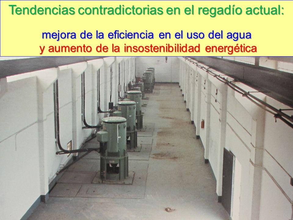 Tendencias contradictorias en el regadío actual: mejora de la eficiencia en el uso del agua y aumento de la insostenibilidad energética y aumento de l
