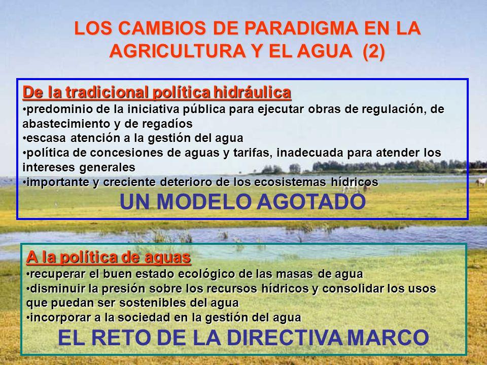 De la tradicional política hidráulica predominio de la iniciativa pública para ejecutar obras de regulación, de abastecimiento y de regadíospredominio