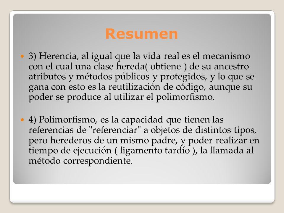 Resumen 3) Herencia, al igual que la vida real es el mecanismo con el cual una clase hereda( obtiene ) de su ancestro atributos y métodos públicos y p