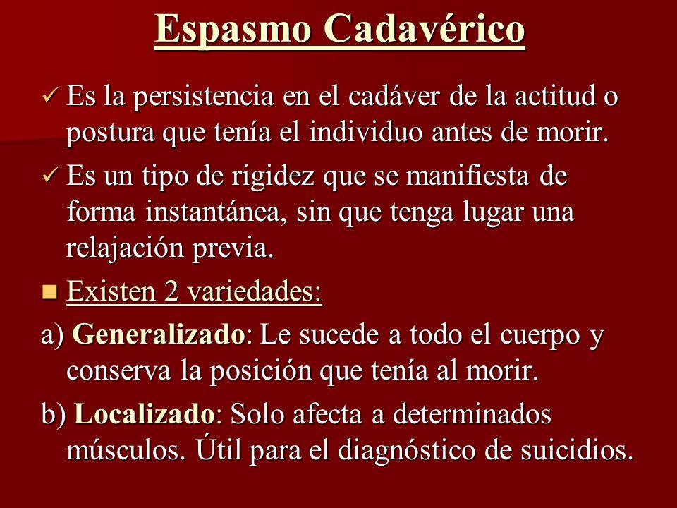 Espasmo Cadavérico Es la persistencia en el cadáver de la actitud o postura que tenía el individuo antes de morir. Es la persistencia en el cadáver de