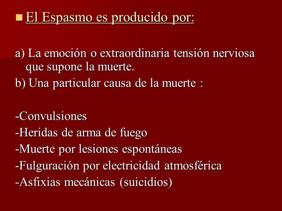 El Espasmo es producido por: El Espasmo es producido por: a) La emoción o extraordinaria tensión nerviosa que supone la muerte. b) Una particular caus