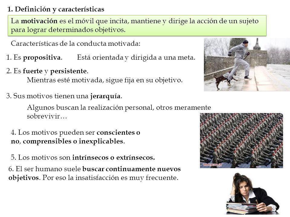 1. Definición y características La motivación es el móvil que incita, mantiene y dirige la acción de un sujeto para lograr determinados objetivos. Car
