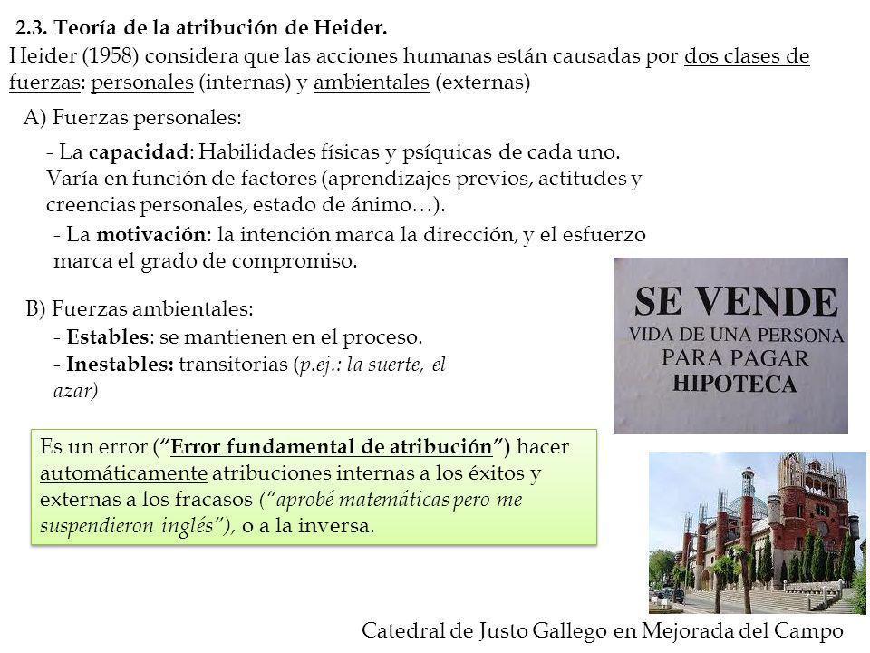 2.3. Teoría de la atribución de Heider. Heider (1958) considera que las acciones humanas están causadas por dos clases de fuerzas: personales (interna