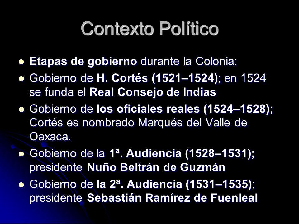 Contexto Político Etapas de gobierno durante la Colonia: Etapas de gobierno durante la Colonia: Gobierno de H. Cortés (1521–1524); en 1524 se funda el