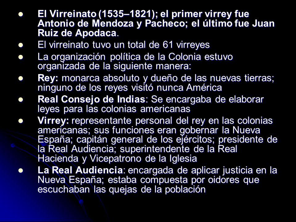 El Virreinato (1535–1821); el primer virrey fue Antonio de Mendoza y Pacheco; el último fue Juan Ruiz de Apodaca. El Virreinato (1535–1821); el primer