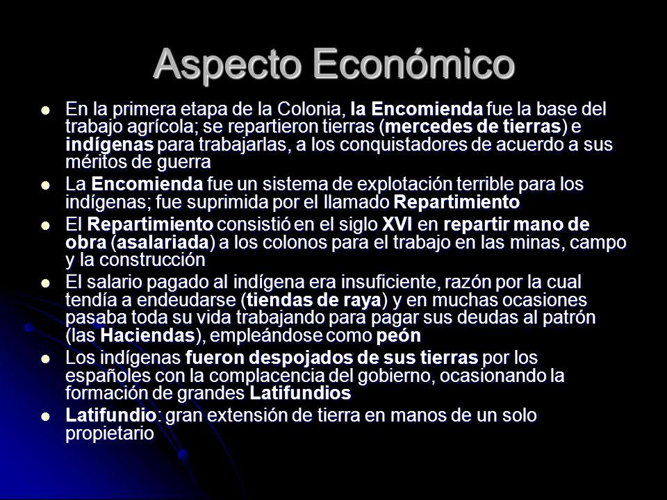 Aspecto Económico En la primera etapa de la Colonia, la Encomienda fue la base del trabajo agrícola; se repartieron tierras (mercedes de tierras) e in