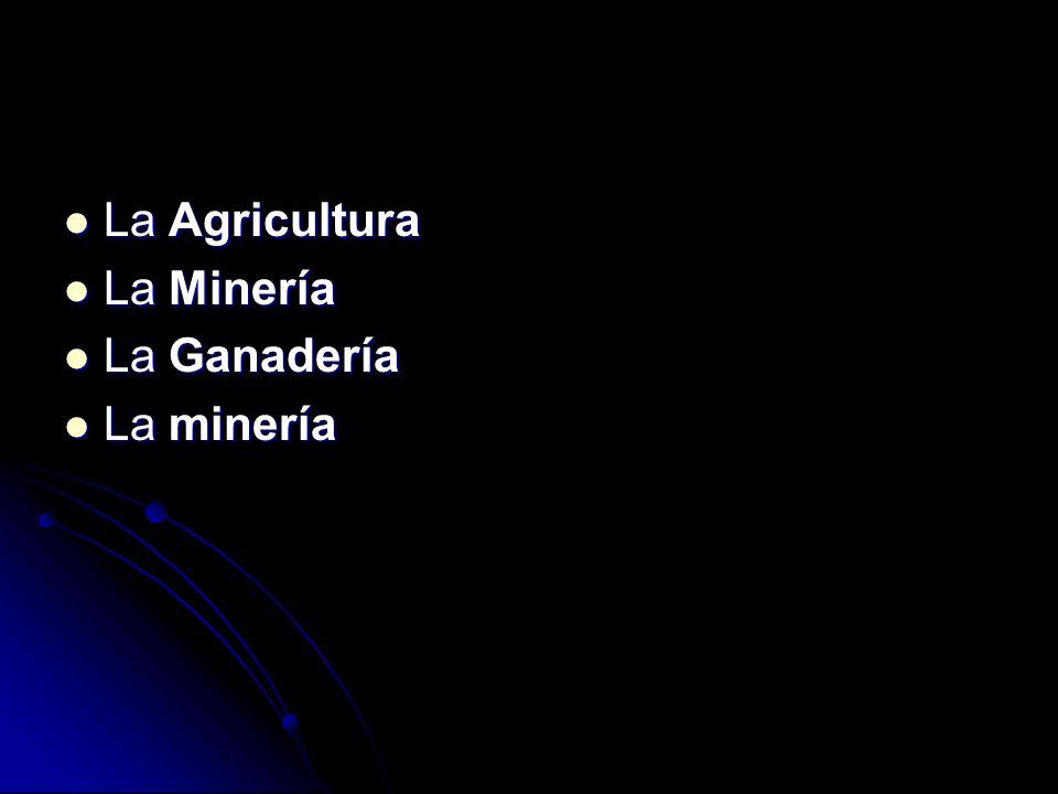 La Agricultura La Agricultura La Minería La Minería La Ganadería La Ganadería La minería La minería