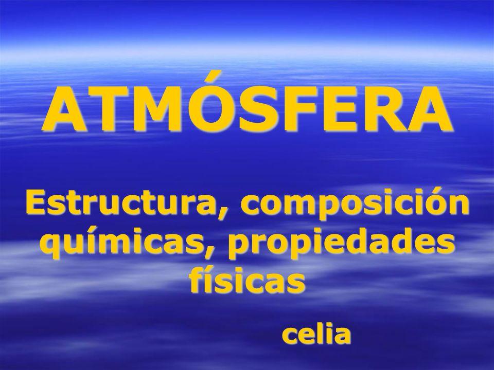 ATMÓSFERA Estructura, composición químicas, propiedades físicas celia