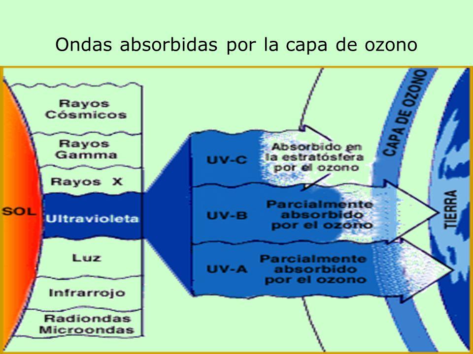 Ondas absorbidas por la capa de ozono
