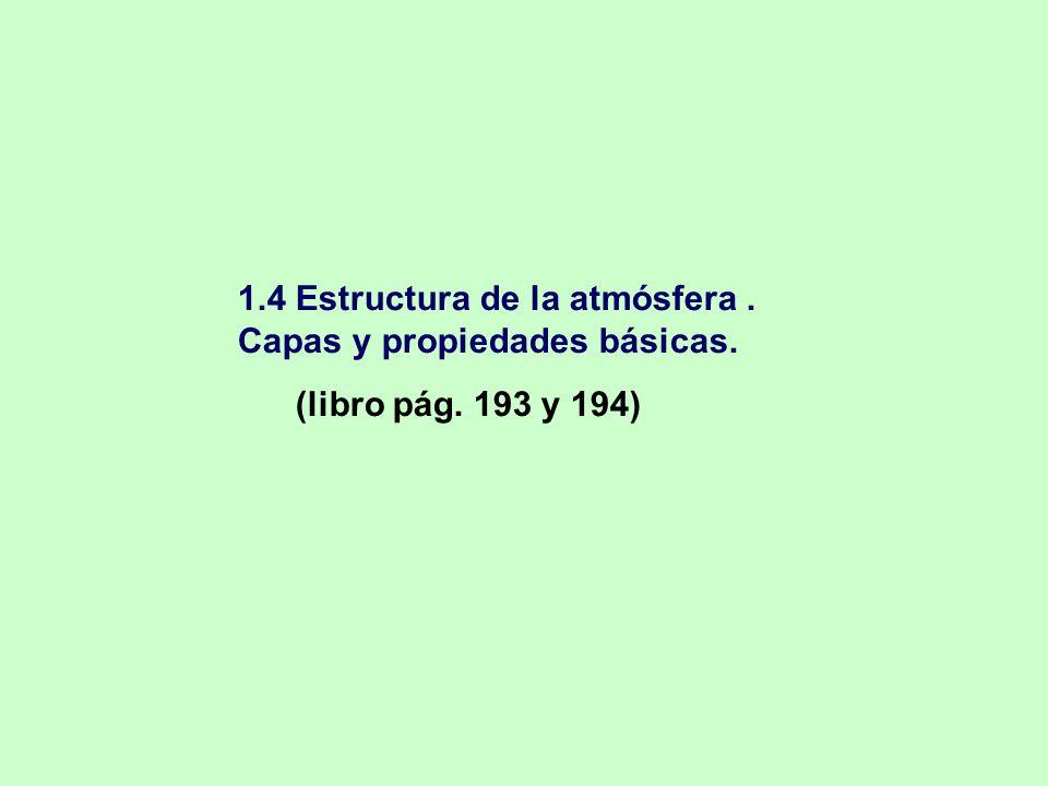 1.4 Estructura de la atmósfera. Capas y propiedades básicas. (libro pág. 193 y 194)