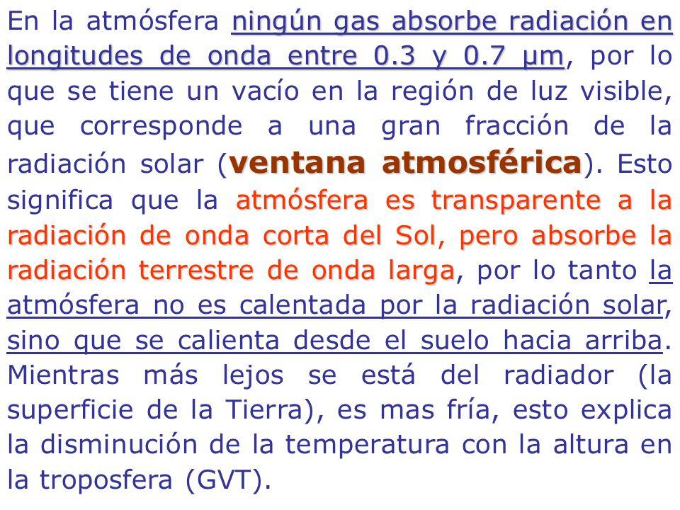 En la atmósfera n nn ningún gas absorbe radiación en longitudes de onda entre 0.3 y 0.7 µm, por lo que se tiene un vacío en la región de luz visible, que corresponde a una gran fracción de la radiación solar (ventana atmosférica ).