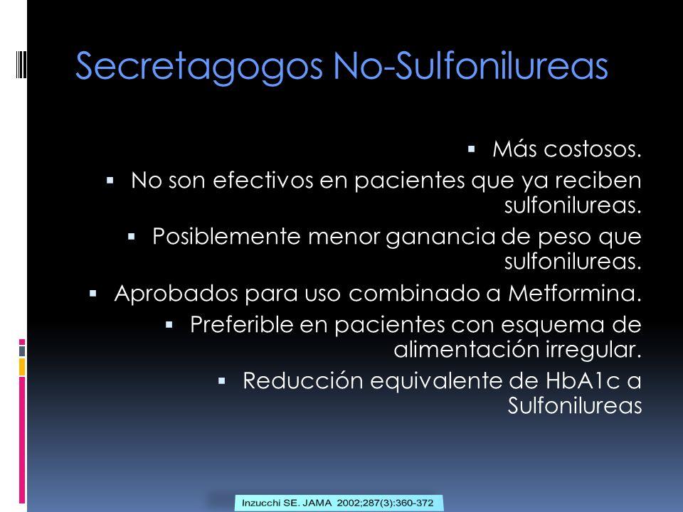 Secretagogos No-Sulfonilureas Más costosos. No son efectivos en pacientes que ya reciben sulfonilureas. Posiblemente menor ganancia de peso que sulfon