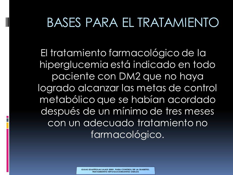 BASES PARA EL TRATAMIENTO El tratamiento farmacológico de la hiperglucemia está indicado en todo paciente con DM2 que no haya logrado alcanzar las met