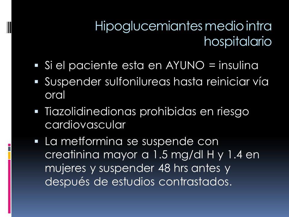 Hipoglucemiantes medio intra hospitalario Si el paciente esta en AYUNO = insulina Suspender sulfonilureas hasta reiniciar vía oral Tiazolidinedionas p