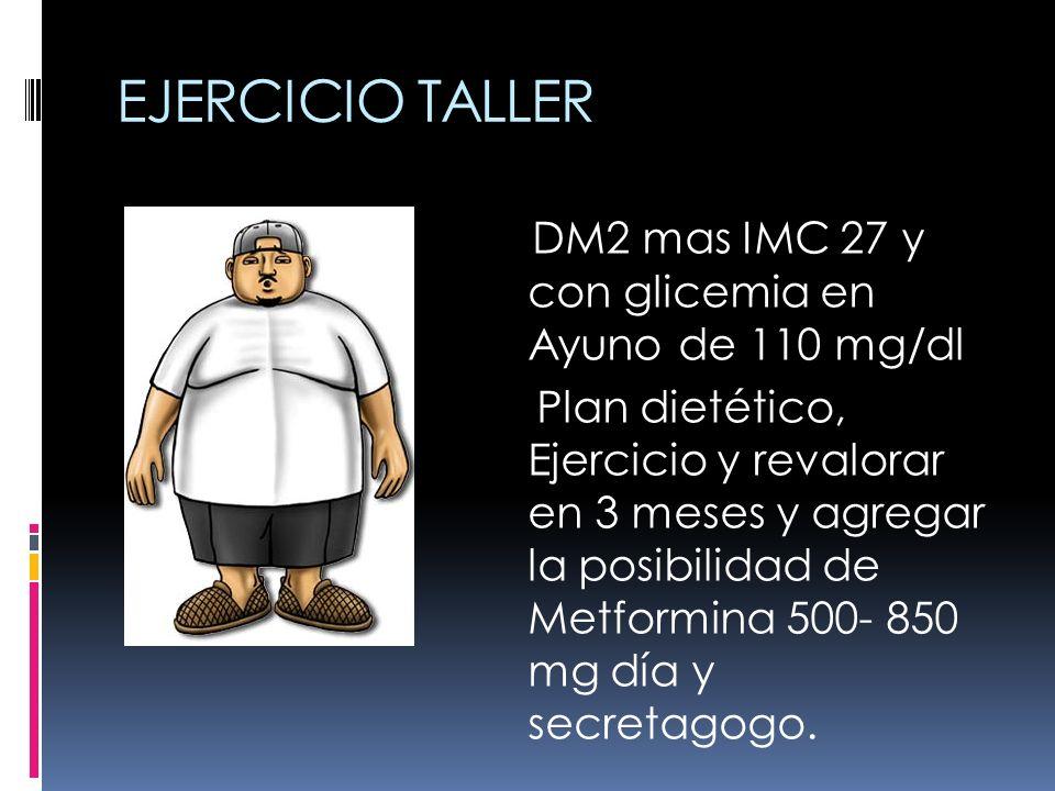 EJERCICIO TALLER DM2 mas IMC 27 y con glicemia en Ayuno de 110 mg/dl Plan dietético, Ejercicio y revalorar en 3 meses y agregar la posibilidad de Metf