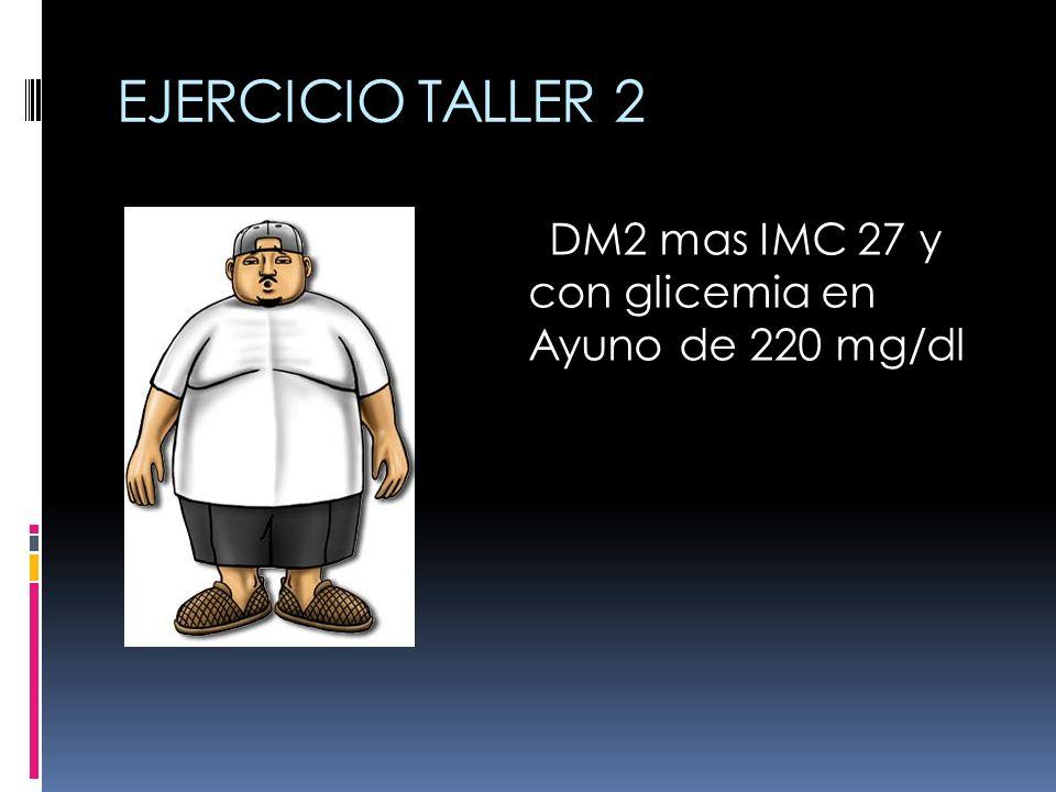EJERCICIO TALLER 2 DM2 mas IMC 27 y con glicemia en Ayuno de 220 mg/dl