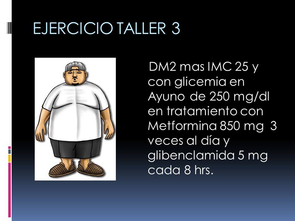 EJERCICIO TALLER 3 DM2 mas IMC 25 y con glicemia en Ayuno de 250 mg/dl en tratamiento con Metformina 850 mg 3 veces al día y glibenclamida 5 mg cada 8