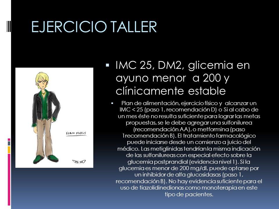 EJERCICIO TALLER IMC 25, DM2, glicemia en ayuno menor a 200 y clínicamente estable Plan de alimentación, ejercicio físico y alcanzar un IMC < 25 (paso