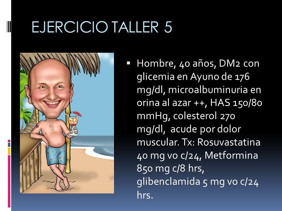 EJERCICIO TALLER 5 Hombre, 40 años, DM2 con glicemia en Ayuno de 176 mg/dl, microalbuminuria en orina al azar ++, HAS 150/80 mmHg, colesterol 270 mg/d