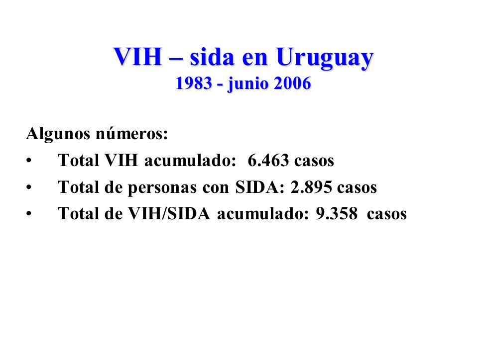 VIH – sida en Uruguay 1983 - junio 2006 Algunos números: Total VIH acumulado: 6.463 casos Total de personas con SIDA: 2.895 casos Total de VIH/SIDA acumulado: 9.358 casos