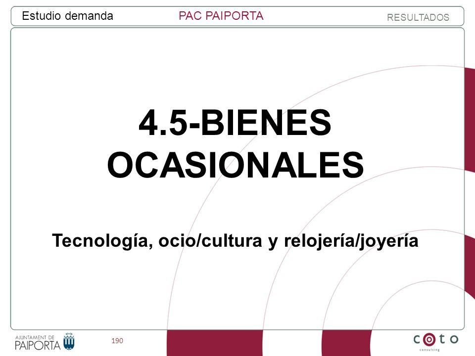 190 Estudio demandaPAC PAIPORTA RESULTADOS 4.5-BIENES OCASIONALES Tecnología, ocio/cultura y relojería/joyería