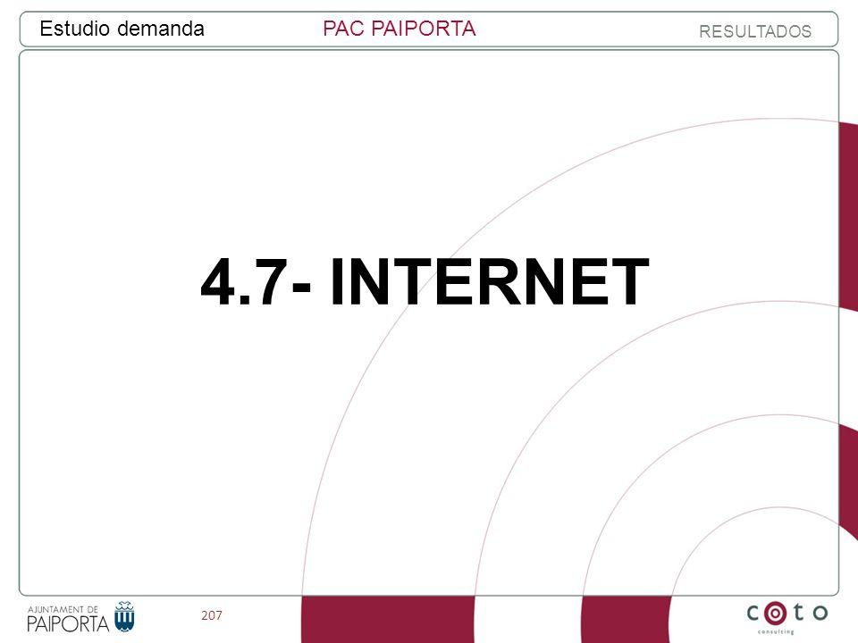 207 Estudio demandaPAC PAIPORTA RESULTADOS 4.7- INTERNET