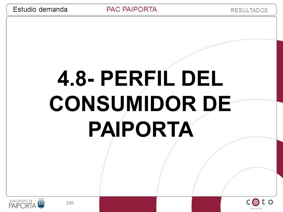 210 Estudio demandaPAC PAIPORTA RESULTADOS 4.8- PERFIL DEL CONSUMIDOR DE PAIPORTA