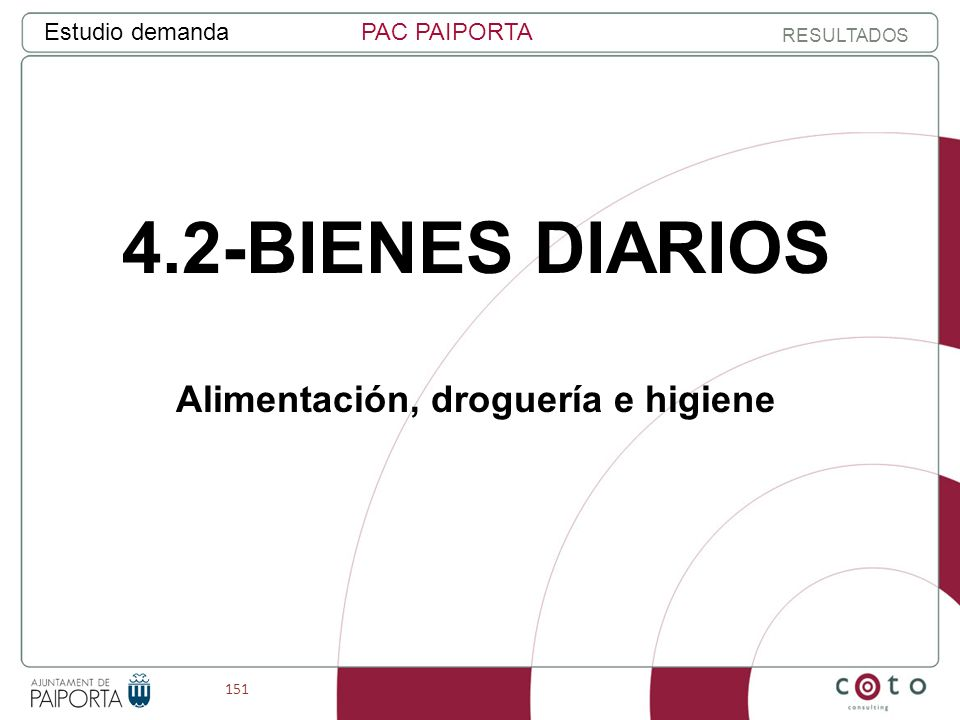 151 Estudio demandaPAC PAIPORTA RESULTADOS 4.2-BIENES DIARIOS Alimentación, droguería e higiene