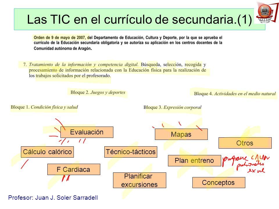 Profesor: Juan J. Soler Sarradell Las TIC en el currículo de secundaria.(1) Cálculo calórico F Cardiaca Técnico-tácticos Planificar excursiones Mapas