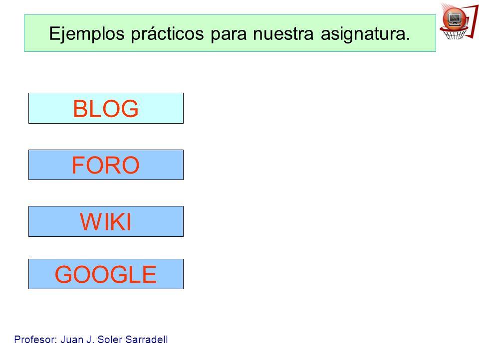 Profesor: Juan J. Soler Sarradell Ejemplos prácticos para nuestra asignatura. BLOG FORO WIKI GOOGLE
