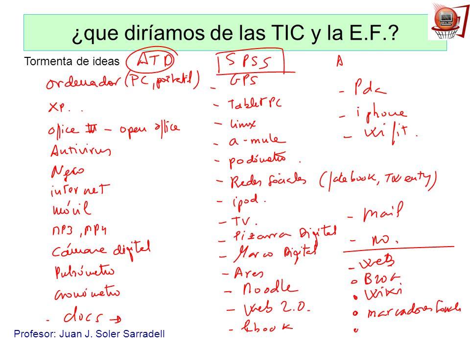 Profesor: Juan J. Soler Sarradell ¿que diríamos de las TIC y la E.F.? Tormenta de ideas