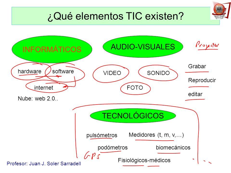 Profesor: Juan J. Soler Sarradell ¿Qué elementos TIC existen? INFORMÁTICOS AUDIO-VISUALES TECNOLÓGICOS VIDEO FOTO SONIDO Grabar Reproducir editar hard
