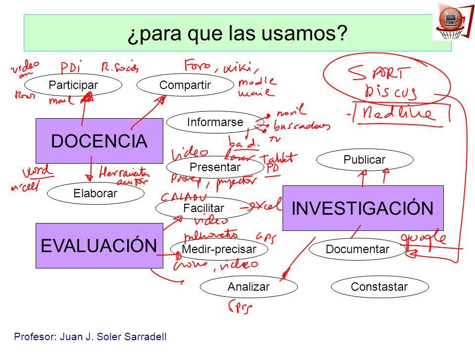 Profesor: Juan J. Soler Sarradell ¿para que las usamos? DOCENCIA INVESTIGACIÓN EVALUACIÓN Compartir Informarse Presentar Facilitar Medir-precisar Elab