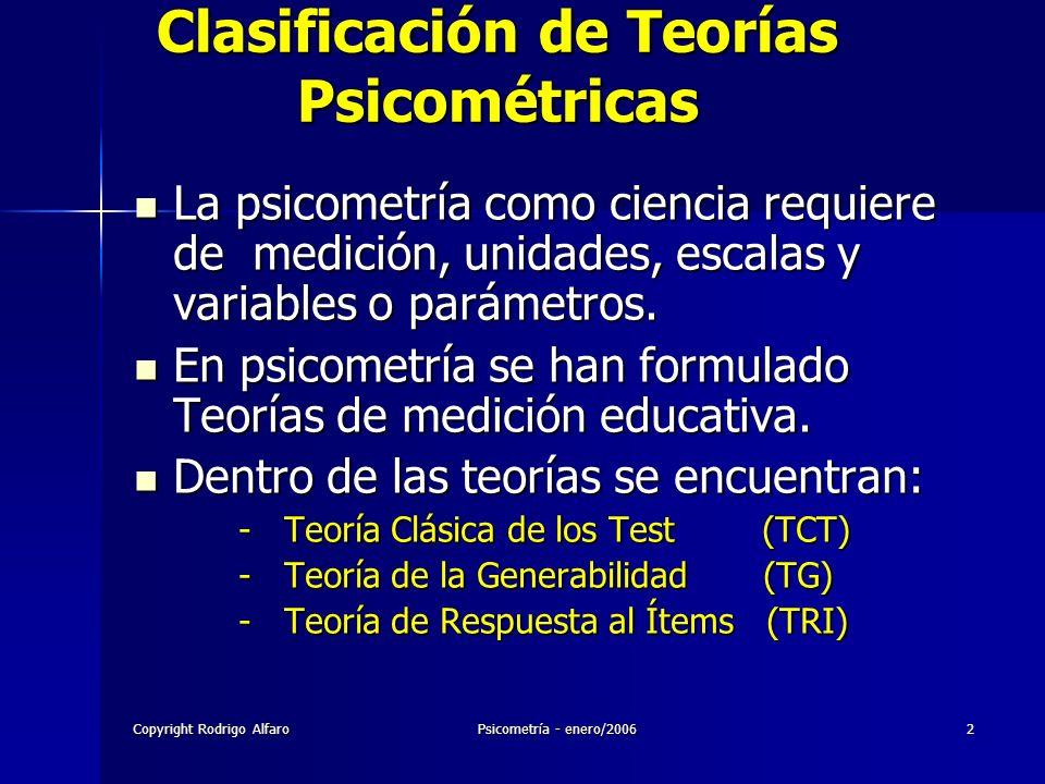 Copyright Rodrigo AlfaroPsicometría - enero/20062 Clasificación de Teorías Psicométricas La psicometría como ciencia requiere de medición, unidades, e