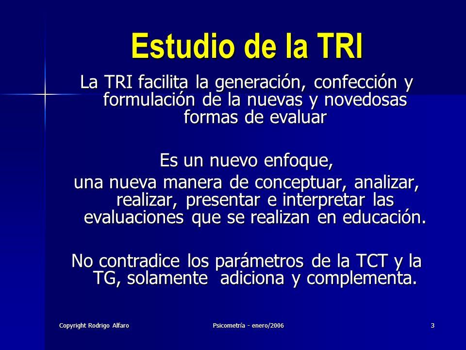 Copyright Rodrigo AlfaroPsicometría - enero/20063 Estudio de la TRI La TRI facilita la generación, confección y formulación de la nuevas y novedosas f