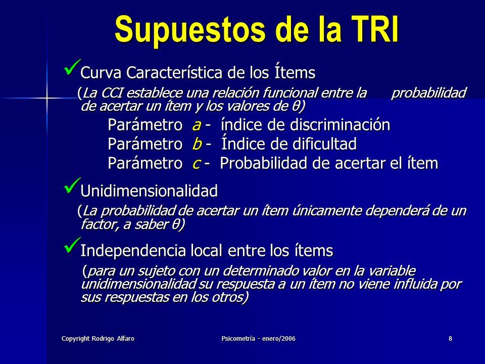Copyright Rodrigo AlfaroPsicometría - enero/20068 Supuestos de la TRI Curva Característica de los Ítems Curva Característica de los Ítems (La CCI esta