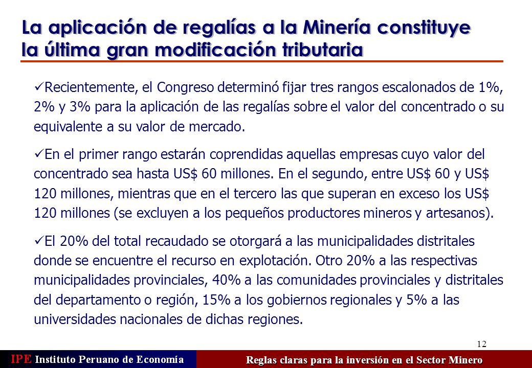 12 La aplicación de regalías a la Minería constituye la última gran modificación tributaria Reglas claras para la inversión en el Sector Minero Recien