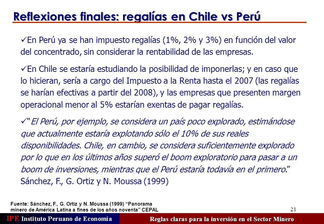 21 Reflexiones finales: regalías en Chile vs Perú Fuente: Sánchez, F., G. Ortiz y N. Moussa (1999) Panorama minero de América Latina a fines de los añ