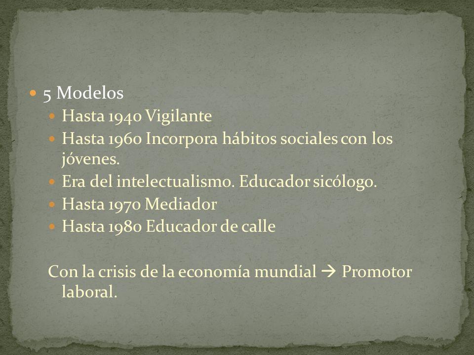 5 Modelos Hasta 1940 Vigilante Hasta 1960 Incorpora hábitos sociales con los jóvenes. Era del intelectualismo. Educador sicólogo. Hasta 1970 Mediador
