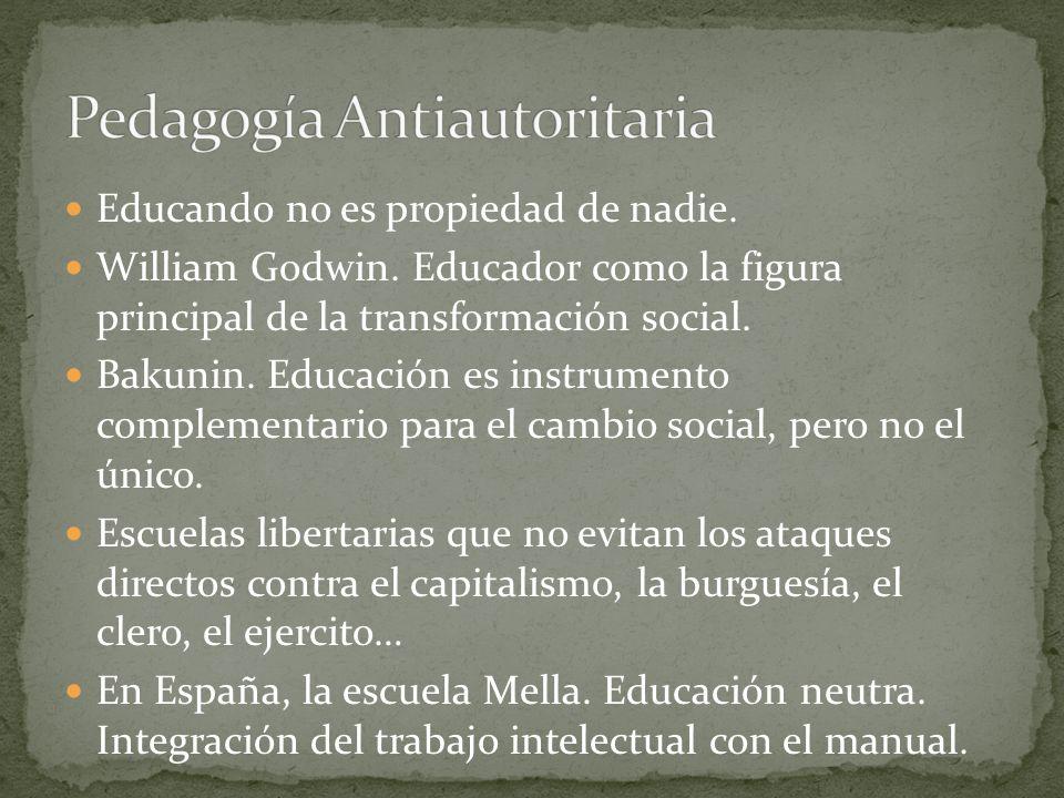 Educando no es propiedad de nadie. William Godwin. Educador como la figura principal de la transformación social. Bakunin. Educación es instrumento co