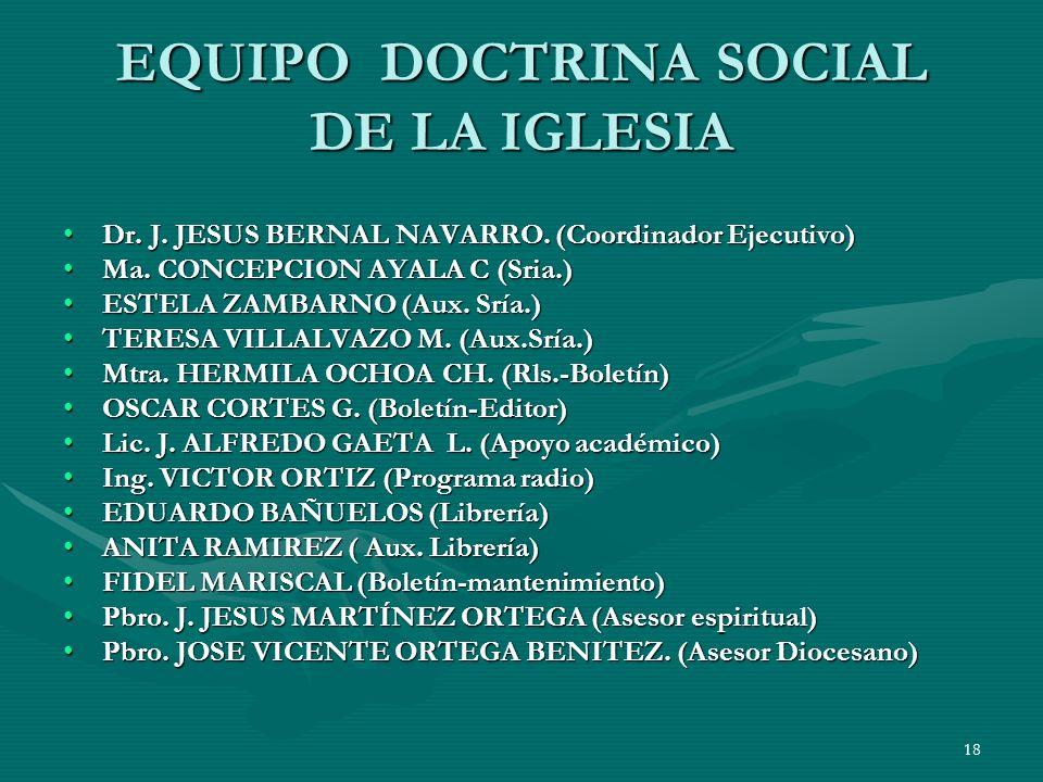 17 ORGANIGRAMA Arzobispo Card. D Juan Sandoval Iñiguez Sr. Ob. Dn. Juan H. Gtz. V. VDP CDPS SDSI Formación Agentes Análisis de la Realidad Difusión DS